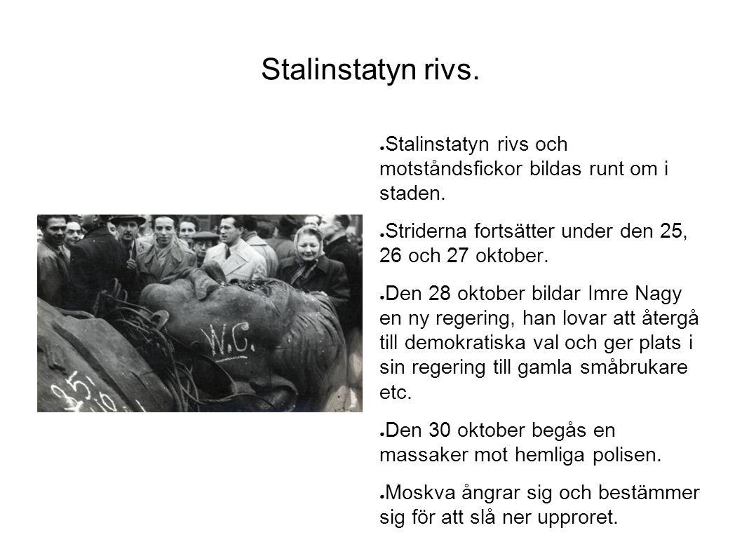 Stalinstatyn rivs. Stalinstatyn rivs och motståndsfickor bildas runt om i staden. Striderna fortsätter under den 25, 26 och 27 oktober.