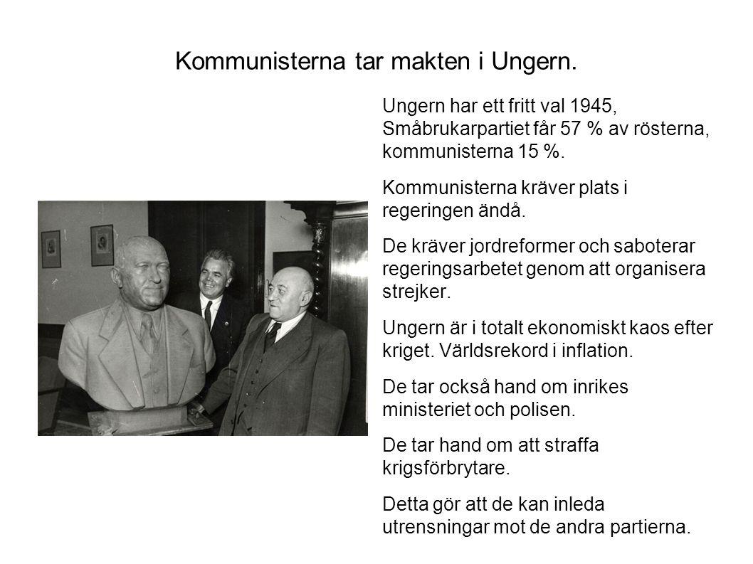 Kommunisterna tar makten i Ungern.
