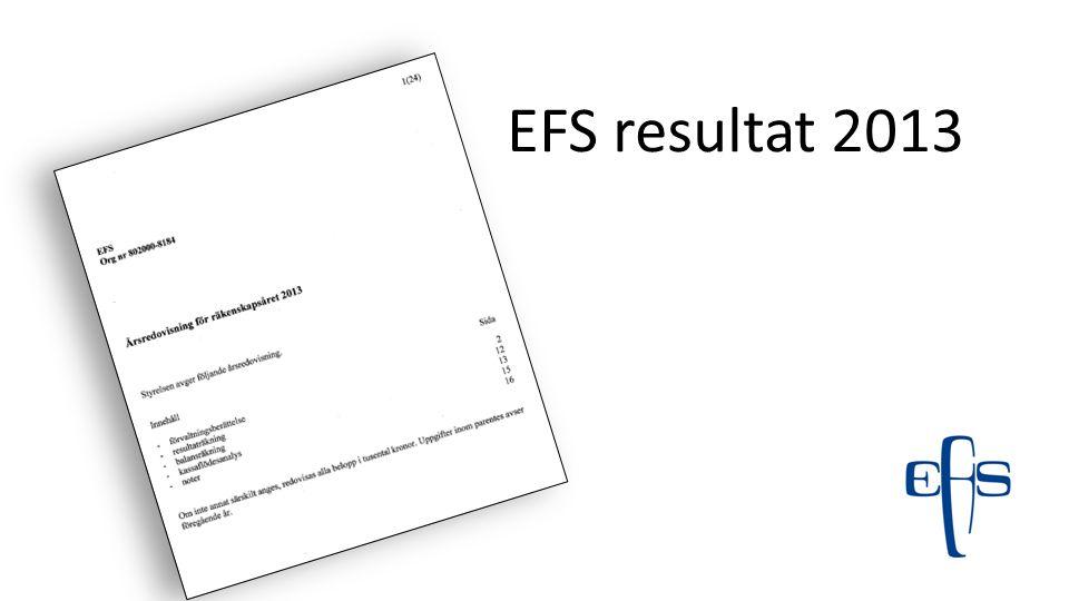 EFS resultat 2013 Sidhänvisningarna är till årsredovisningen som är som en handling i årsmötet, och som även finns på hemsidan att läsa.