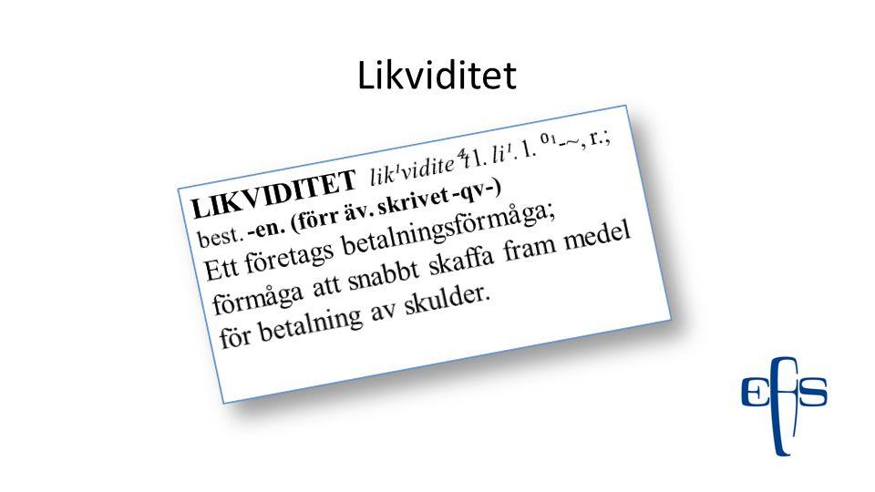 Likviditet LIKVIDITET lik¹vidite⁴t l. li¹. l. ⁰¹-~, r.; best. -en. (förr äv. skrivet -qv-)