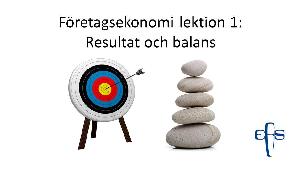 Företagsekonomi lektion 1: Resultat och balans