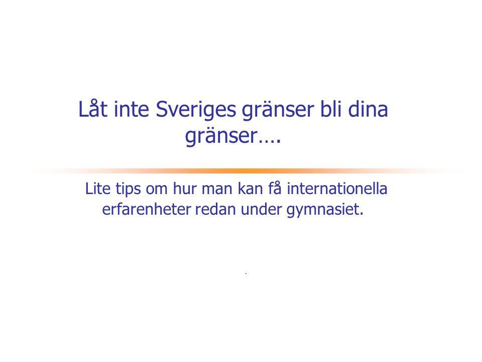 Låt inte Sveriges gränser bli dina gränser…
