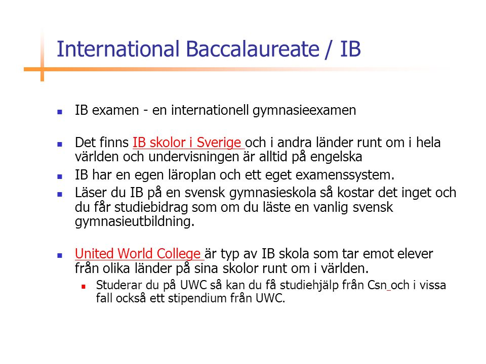 International Baccalaureate / IB