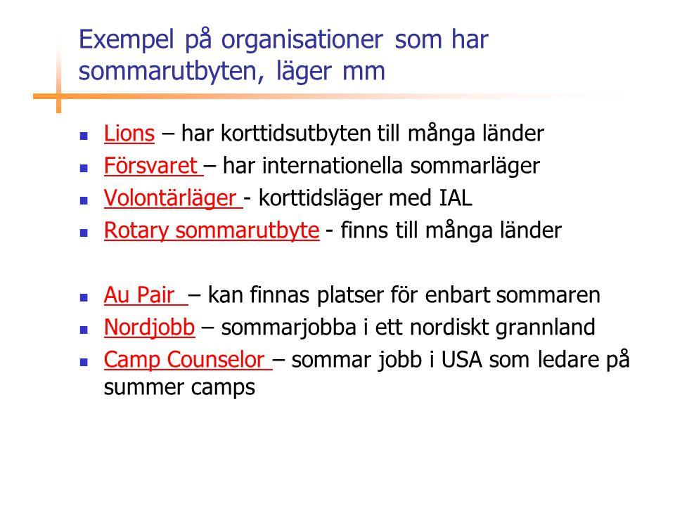 Exempel på organisationer som har sommarutbyten, läger mm