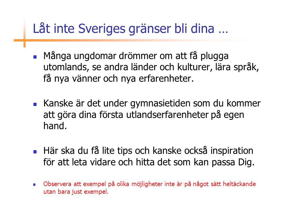 Låt inte Sveriges gränser bli dina …