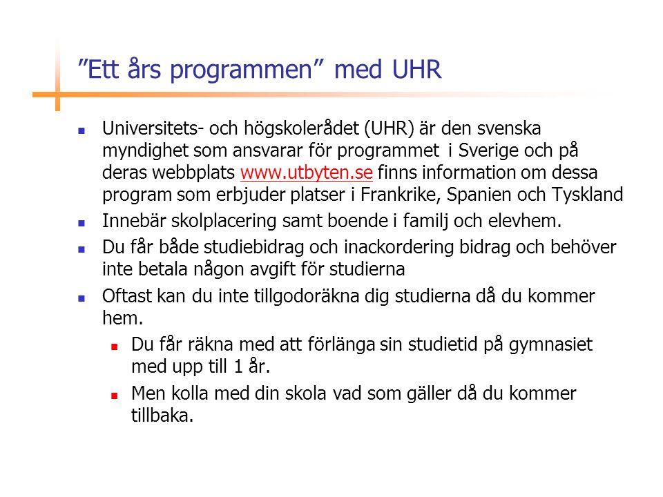 Ett års programmen med UHR