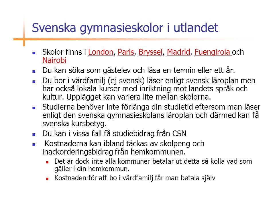 Svenska gymnasieskolor i utlandet