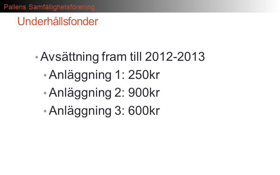 Avsättning fram till 2012-2013 Anläggning 1: 250kr Anläggning 2: 900kr
