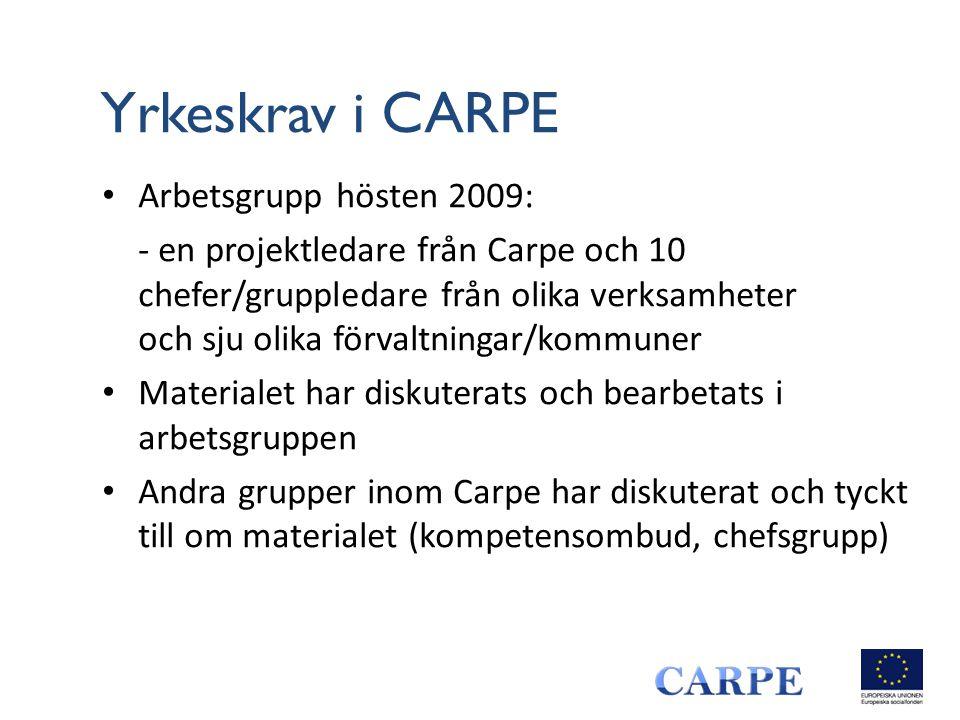 Yrkeskrav i CARPE Arbetsgrupp hösten 2009: