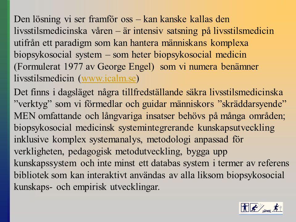Den lösning vi ser framför oss – kan kanske kallas den livsstilsmedicinska våren – är intensiv satsning på livsstilsmedicin utifrån ett paradigm som kan hantera människans komplexa biopsykosocial system – som heter biopsykosocial medicin (Formulerat 1977 av George Engel) som vi numera benämner livsstilsmedicin (www.icalm.se)