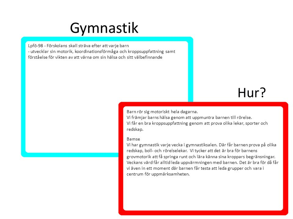 Gymnastik Hur Lpfö-98 - Förskolans skall sträva efter att varje barn