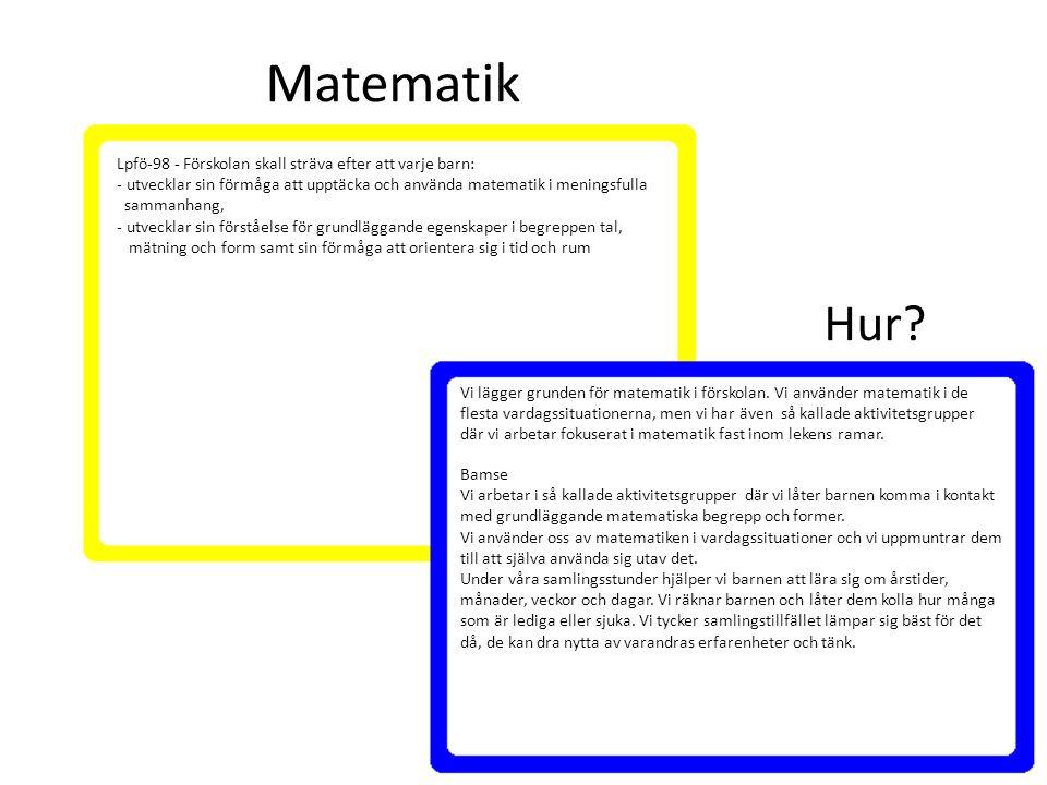 Matematik Hur Lpfö-98 - Förskolan skall sträva efter att varje barn: