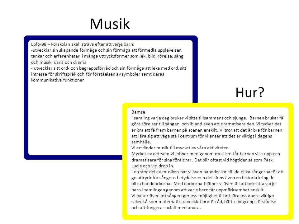 Musik Hur Lpfö-98 – Förskolan skall sträva efter att varje barn: