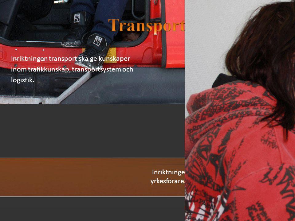 Transport Inriktningen transport ska ge kunskaper inom trafikkunskap, transportsystem och logistik.