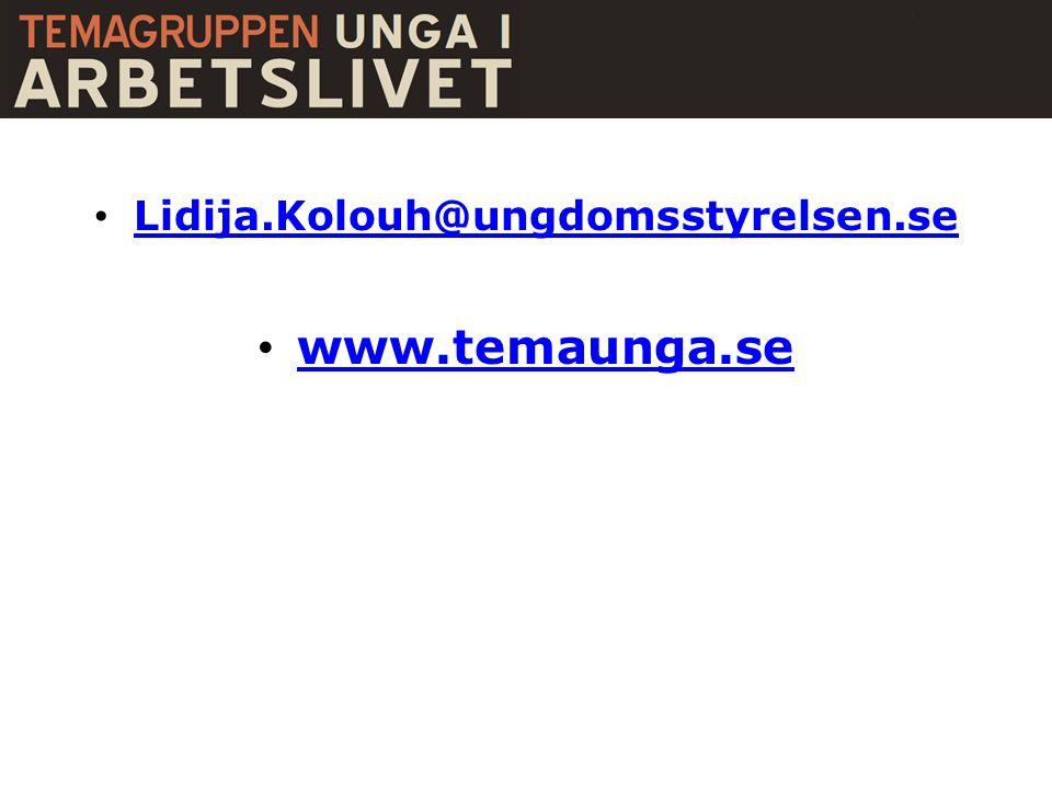 Lidija.Kolouh@ungdomsstyrelsen.se www.temaunga.se