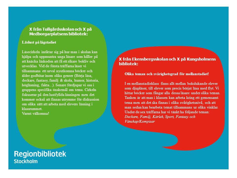 X från Tullgårdsskolan och X på Medborgarplatsens bibliotek: