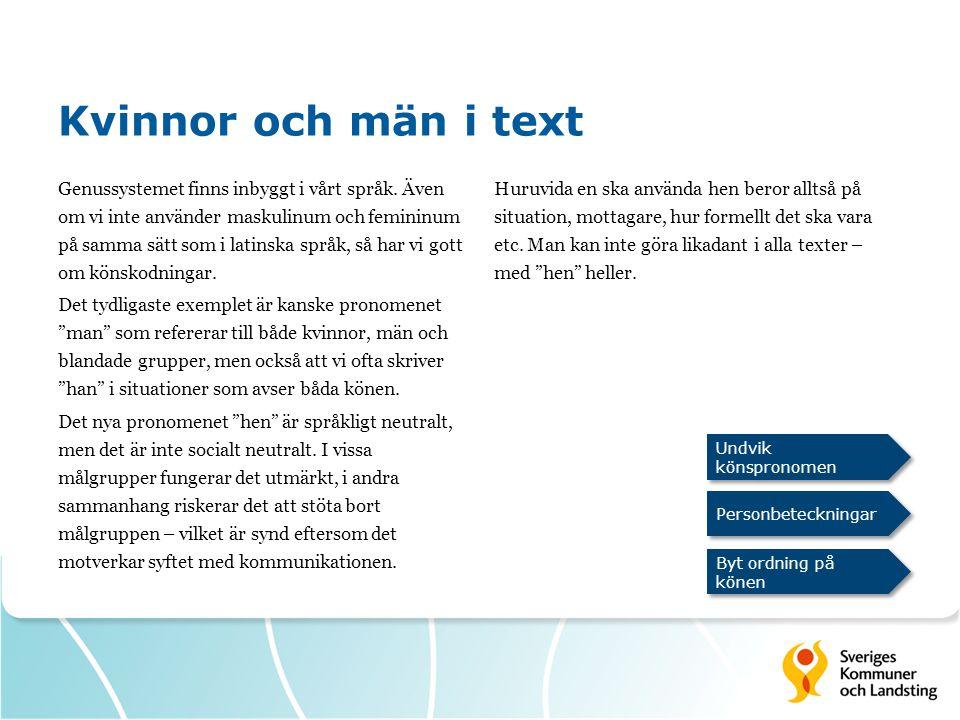 Kvinnor och män i text