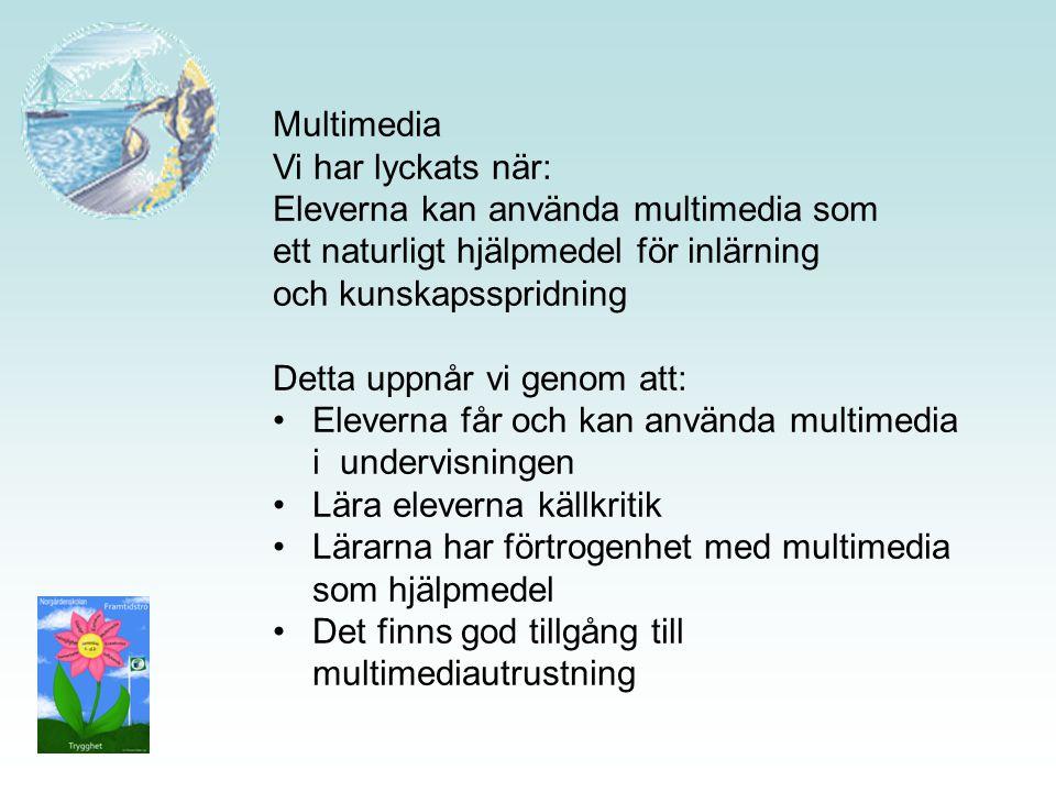 Multimedia Vi har lyckats när: Eleverna kan använda multimedia som. ett naturligt hjälpmedel för inlärning.
