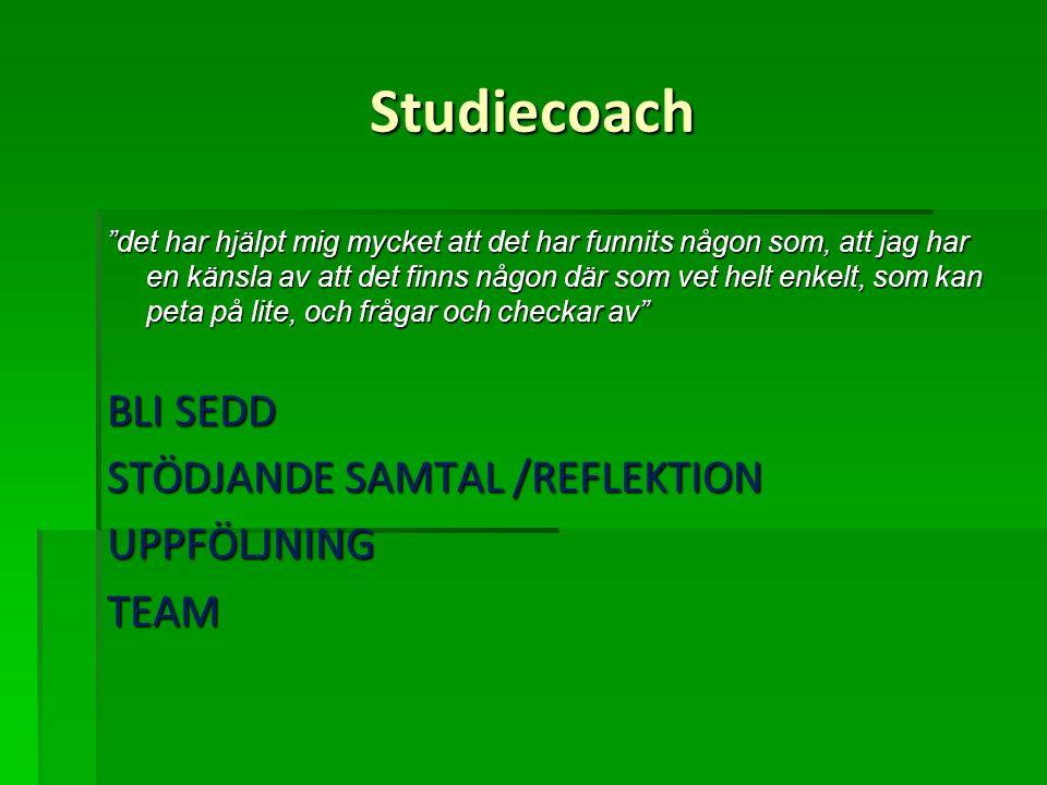 Studiecoach BLI SEDD STÖDJANDE SAMTAL /REFLEKTION UPPFÖLJNING TEAM