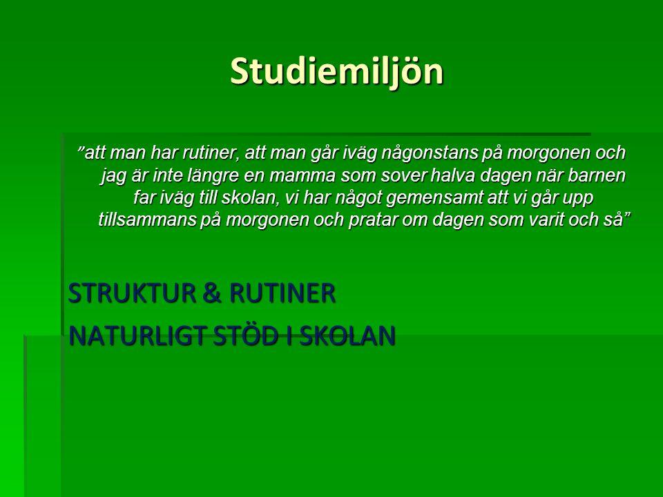 Studiemiljön STRUKTUR & RUTINER NATURLIGT STÖD I SKOLAN