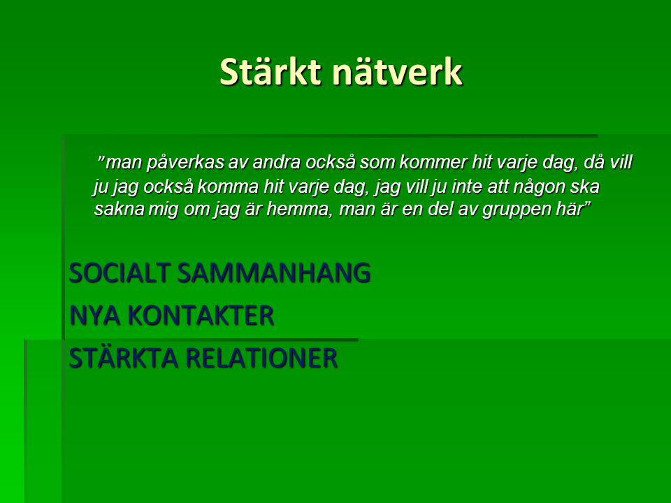 Stärkt nätverk SOCIALT SAMMANHANG NYA KONTAKTER STÄRKTA RELATIONER