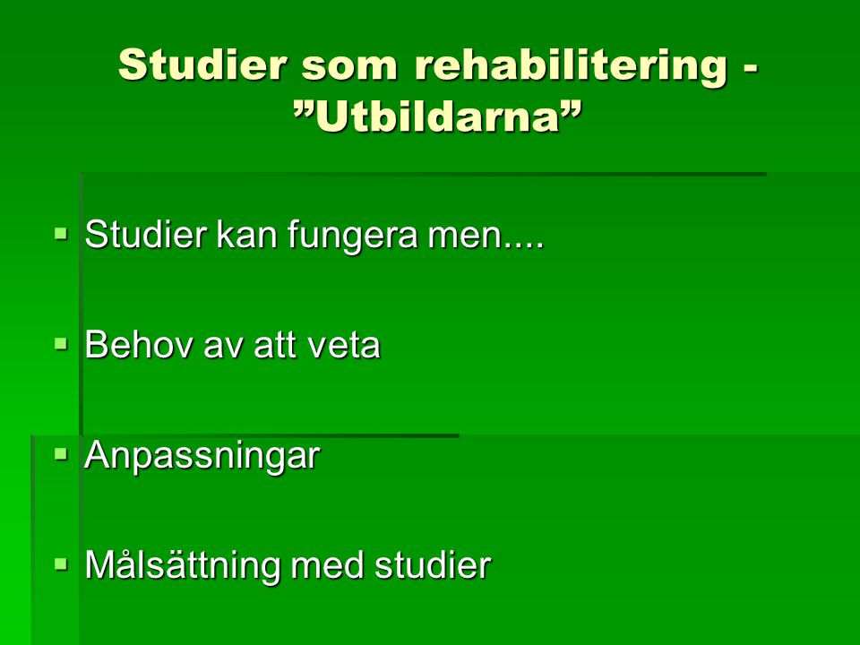 Studier som rehabilitering - Utbildarna