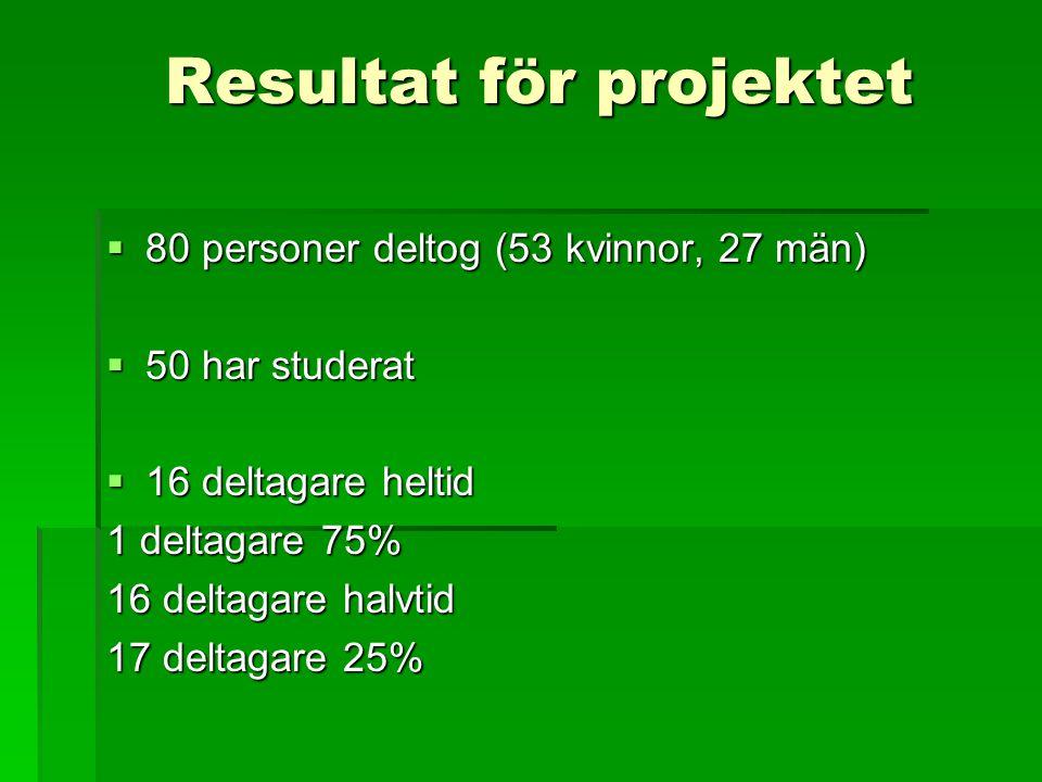Resultat för projektet