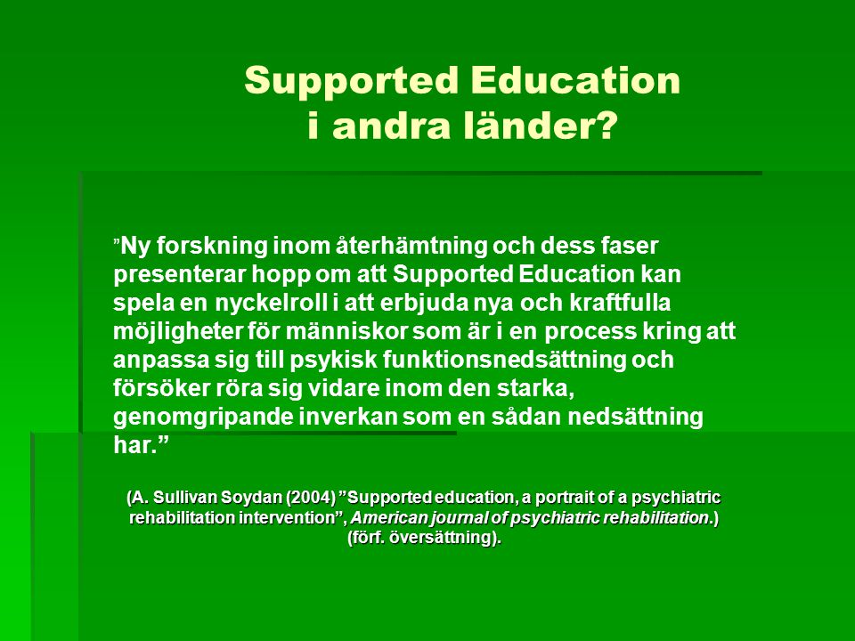 Supported Education i andra länder