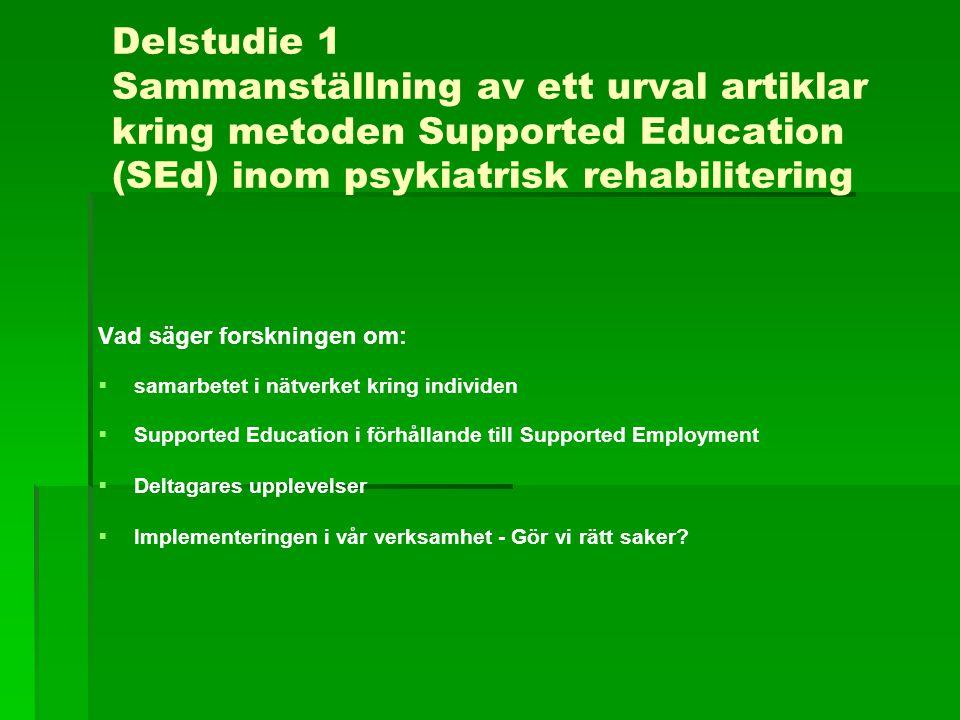 Delstudie 1 Sammanställning av ett urval artiklar kring metoden Supported Education (SEd) inom psykiatrisk rehabilitering