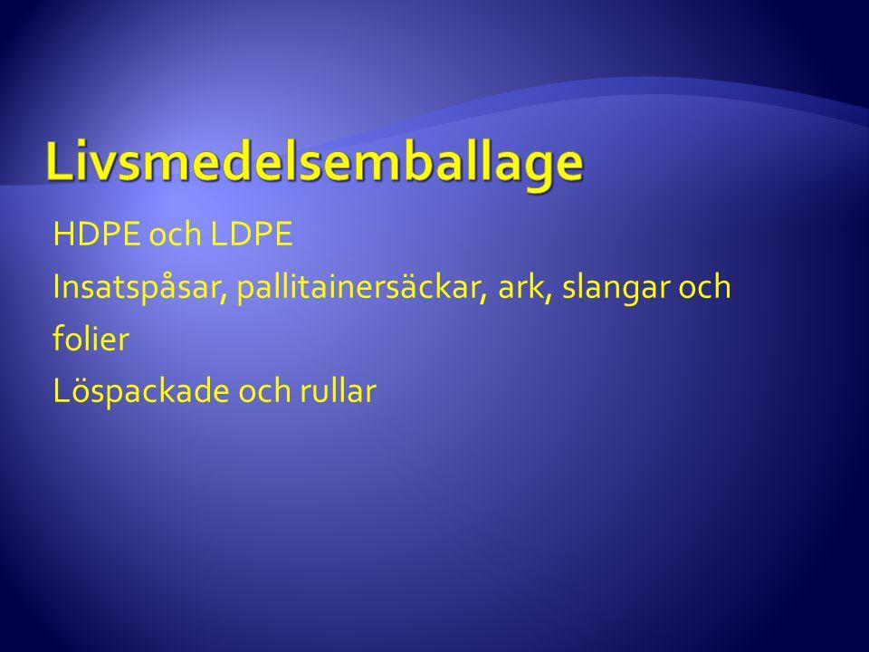 Livsmedelsemballage HDPE och LDPE Insatspåsar, pallitainersäckar, ark, slangar och folier Löspackade och rullar