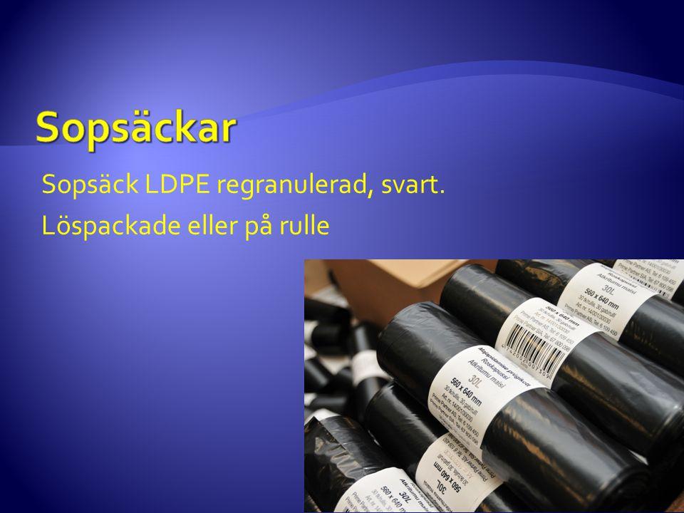 Sopsäckar Sopsäck LDPE regranulerad, svart. Löspackade eller på rulle