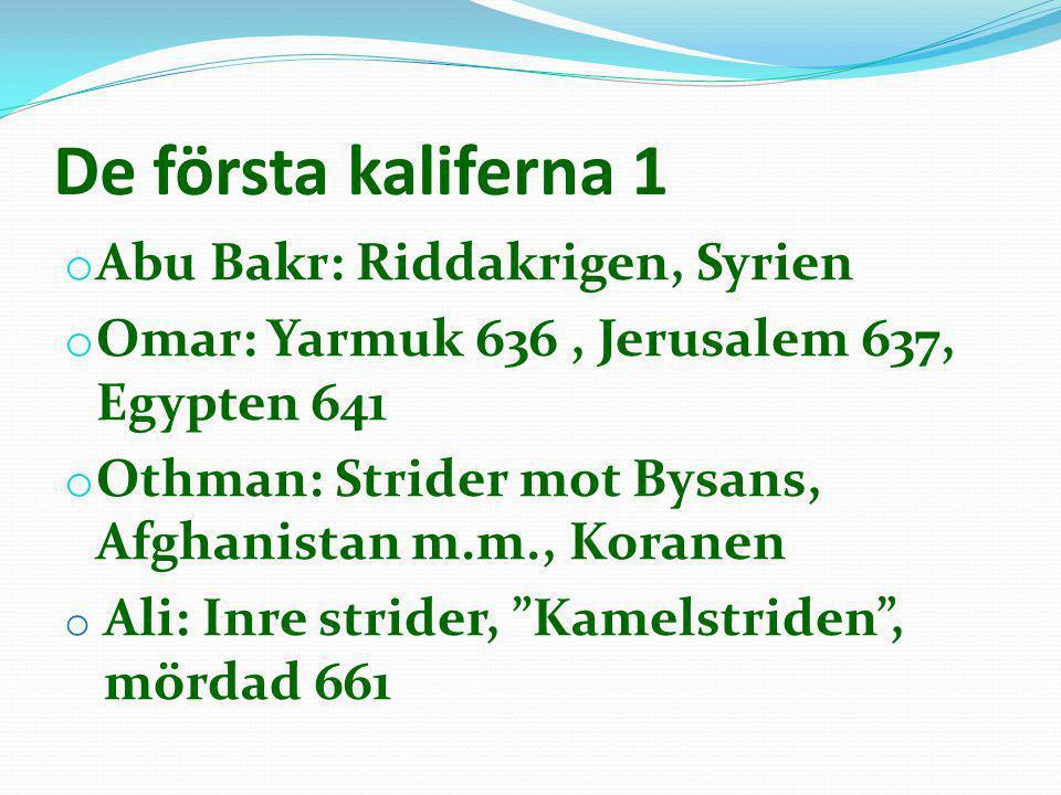 De första kaliferna 1 Abu Bakr: Riddakrigen, Syrien