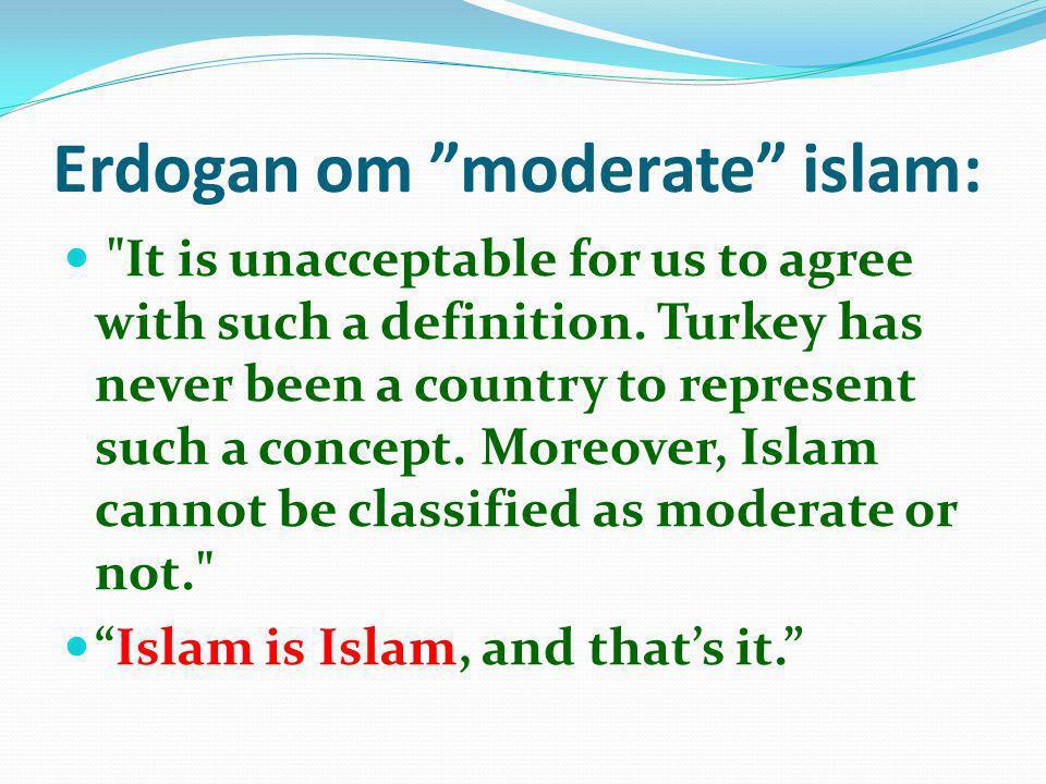 Erdogan om moderate islam: