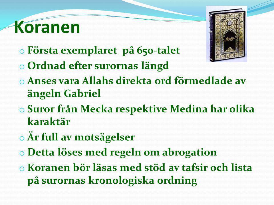 Koranen Första exemplaret på 650-talet Ordnad efter surornas längd