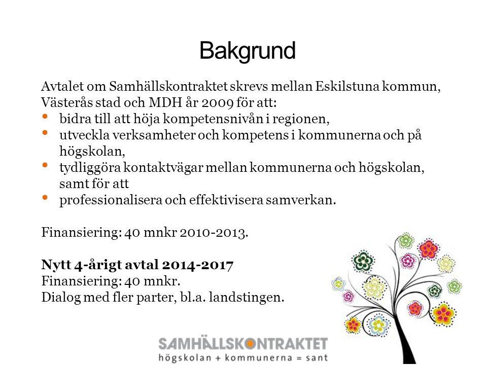 Bakgrund Avtalet om Samhällskontraktet skrevs mellan Eskilstuna kommun, Västerås stad och MDH år 2009 för att: