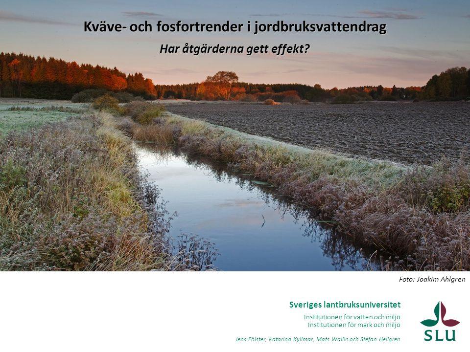 Kväve- och fosfortrender i jordbruksvattendrag Har åtgärderna gett effekt
