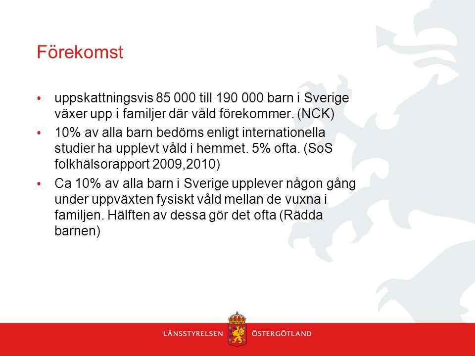 Förekomst uppskattningsvis 85 000 till 190 000 barn i Sverige växer upp i familjer där våld förekommer. (NCK)