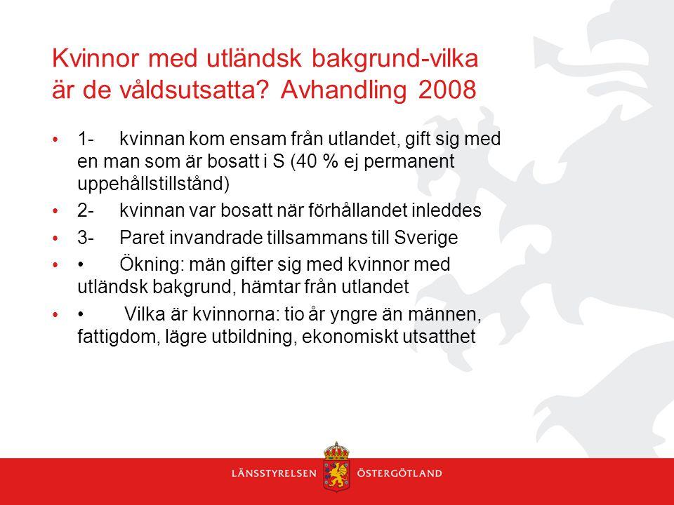 Kvinnor med utländsk bakgrund-vilka är de våldsutsatta Avhandling 2008