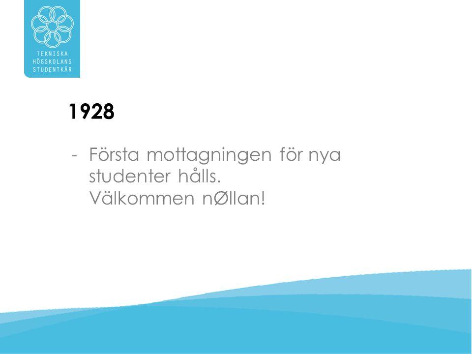 1928 Första mottagningen för nya studenter hålls. Välkommen nØllan!