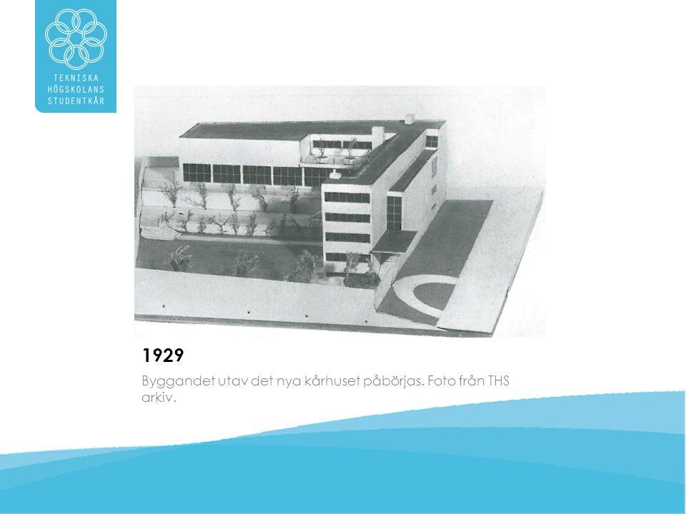 1929 Byggandet utav det nya kårhuset påbörjas. Foto från THS arkiv.