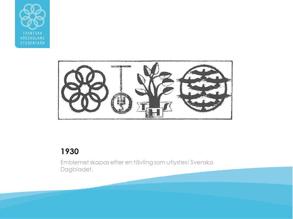 1930 Emblemet skapas efter en tävling som utlystes i Svenska Dagbladet.