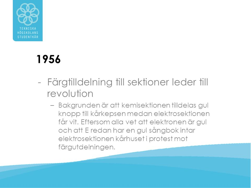 1956 Färgtilldelning till sektioner leder till revolution