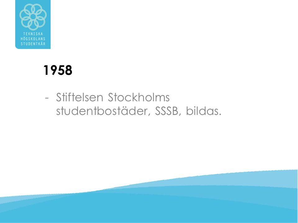 1958 Stiftelsen Stockholms studentbostäder, SSSB, bildas.