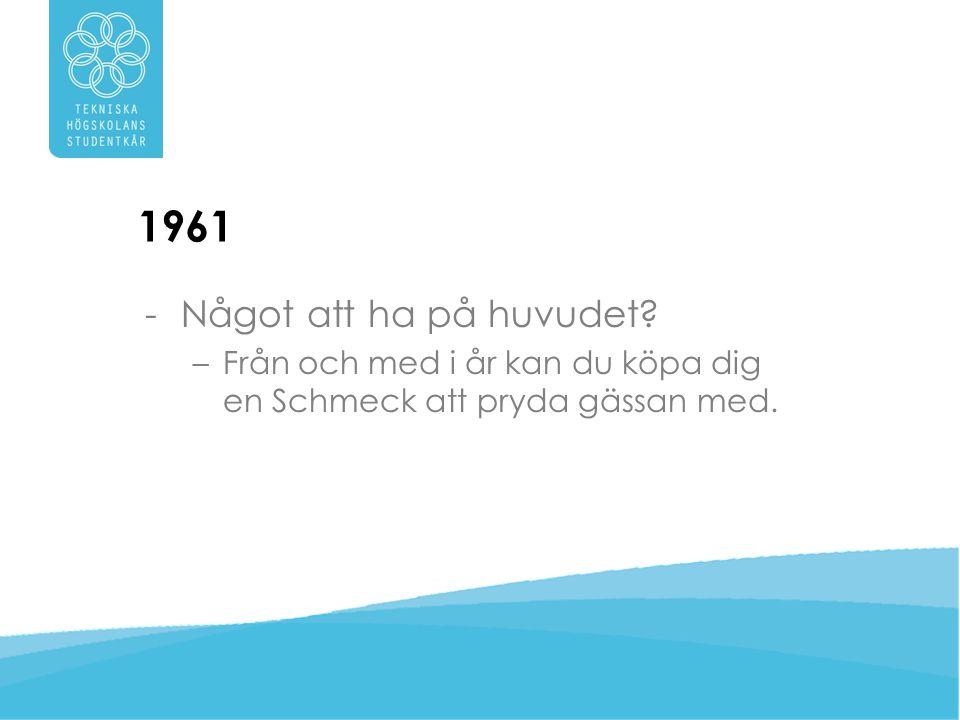 1961 Något att ha på huvudet Från och med i år kan du köpa dig en Schmeck att pryda gässan med.