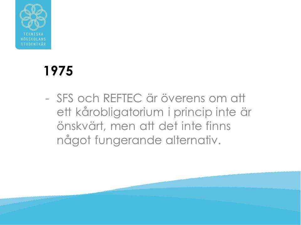 1975 SFS och REFTEC är överens om att ett kårobligatorium i princip inte är önskvärt, men att det inte finns något fungerande alternativ.