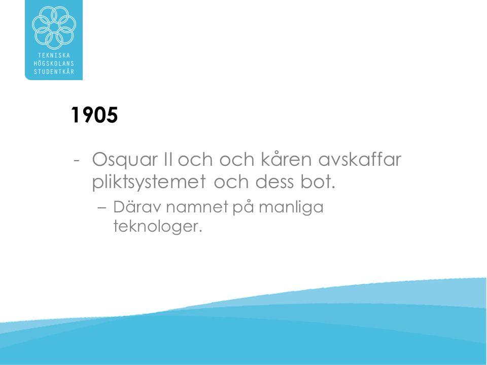 1905 Osquar II och och kåren avskaffar pliktsystemet och dess bot.