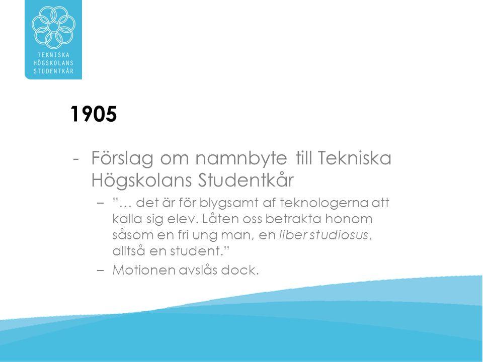 1905 Förslag om namnbyte till Tekniska Högskolans Studentkår