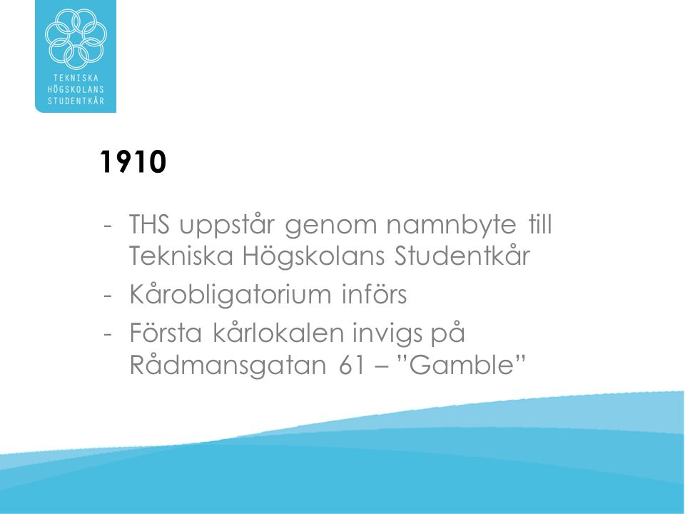 1910 THS uppstår genom namnbyte till Tekniska Högskolans Studentkår