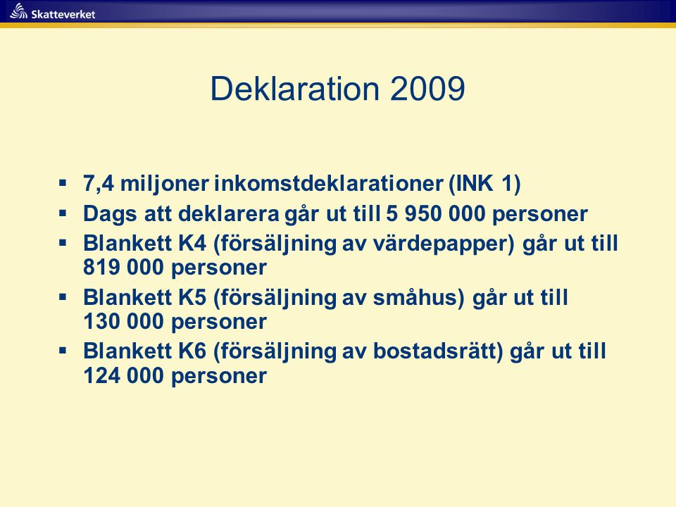Deklaration ,4 miljoner inkomstdeklarationer (INK 1)