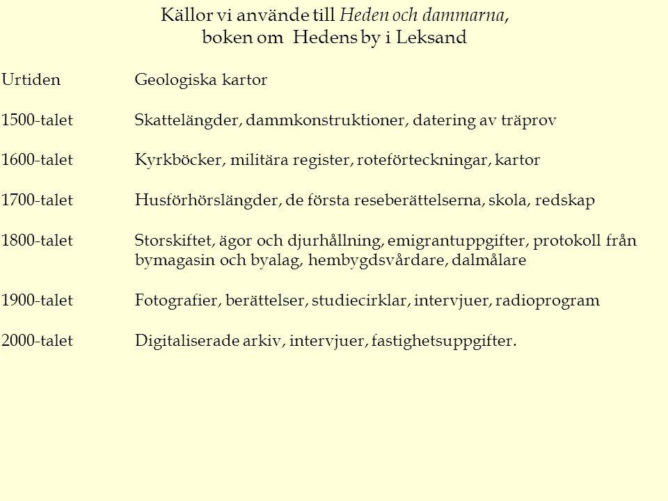 Källor vi använde till Heden och dammarna, boken om Hedens by i Leksand